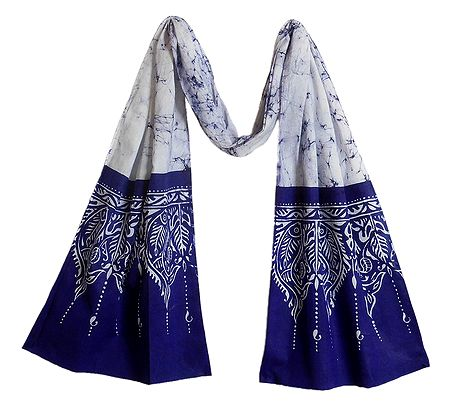 White with Blue Batik Cotton Scarf