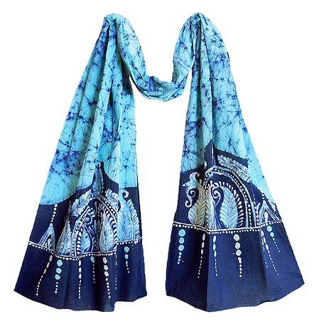 Dark Blue and White Batik on Light Cyan Batik Cotton Scarf