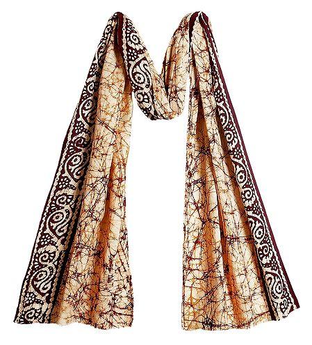 Batik on Off-White Cotton Scarf