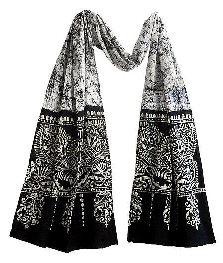 White with Black Batik Cotton Scarf