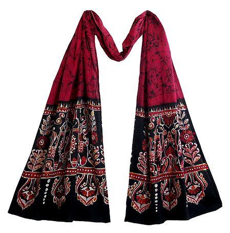Batik on Dark Pink Cotton Scarf
