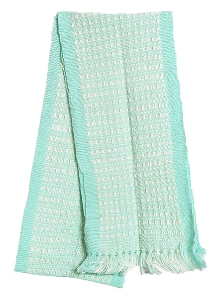 Light Cyan and White Hand Knitted Woollen Muffler