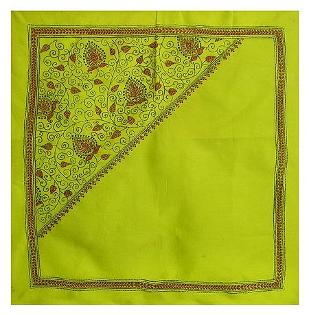 Lime Green Head Scarf with Kantha Stitch