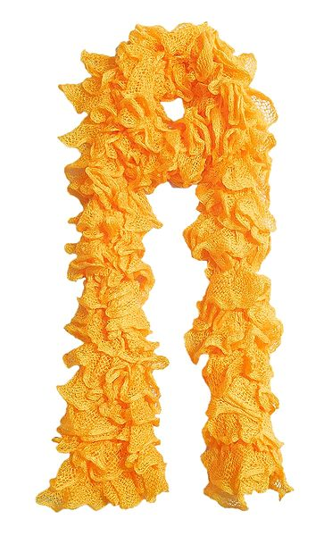 Yellow Crocheted Woolen Scarf