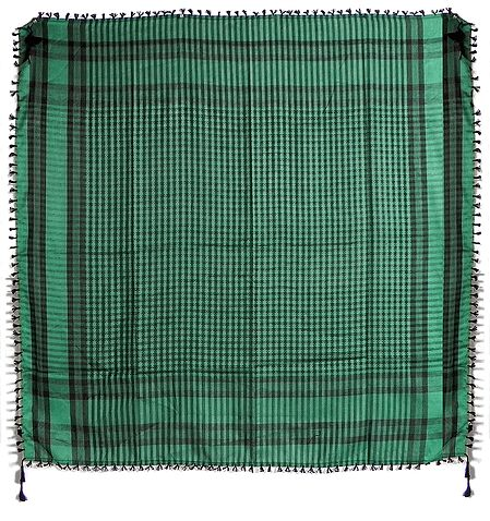Muslim Woven Black With Green Check Cotton Scarf