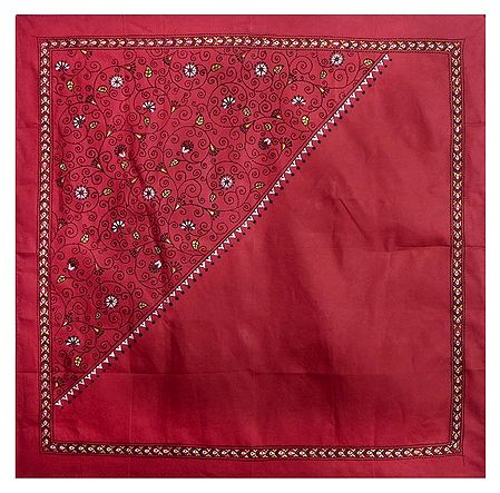Red Head Scarf with Kantha Stitch