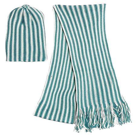 White and Dark Cyan Stripe Woollen Muffler and Cap