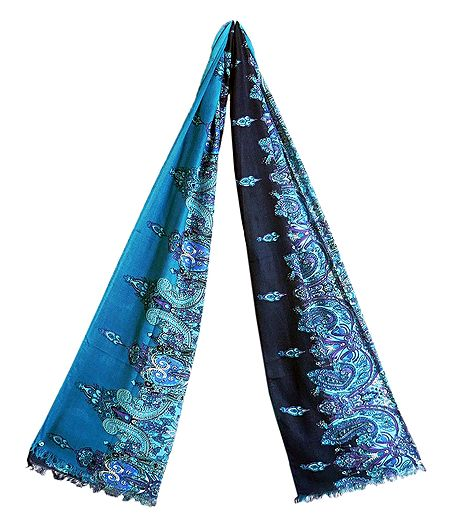 Dark and Light Blue Paisley Print Viscose Scarf
