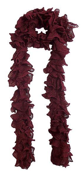 Maroon Crocheted Woolen Scarf