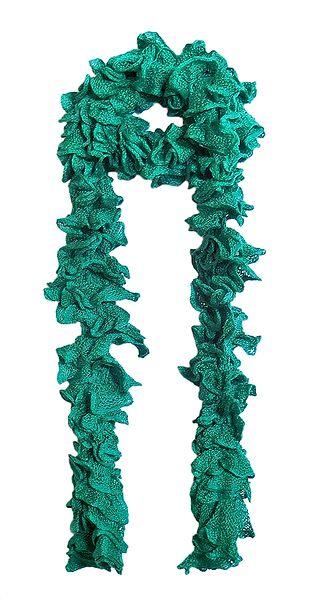 Cyan Green Crocheted Woolen Scarf