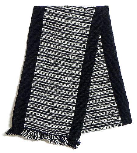 Black and White Hand Knitted Woollen Muffler