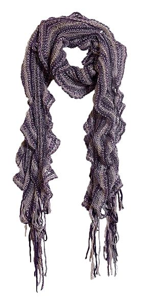 Dark Mauve with Maroon Stripe Crocheted Woolen Scarf