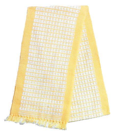 Light Yellow and White Hand Knitted Woollen Muffler