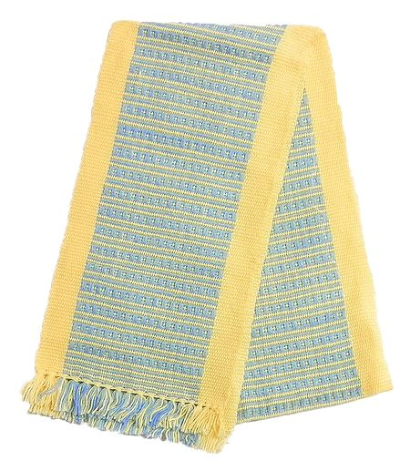 Light Yellow and Blue Hand Knitted Woollen Muffler