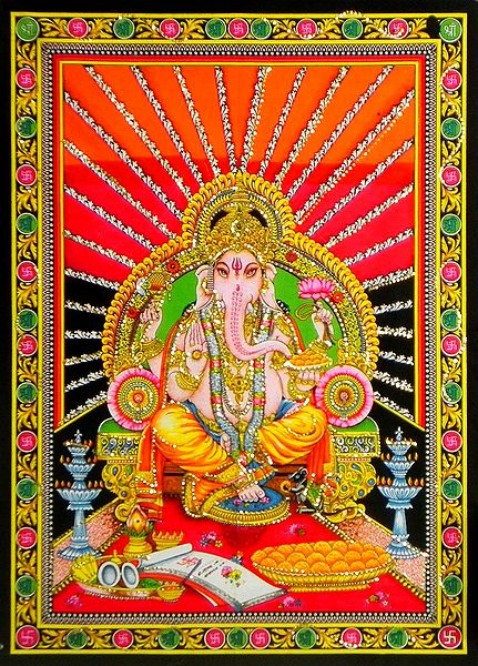Ganesha Sitting on Throne
