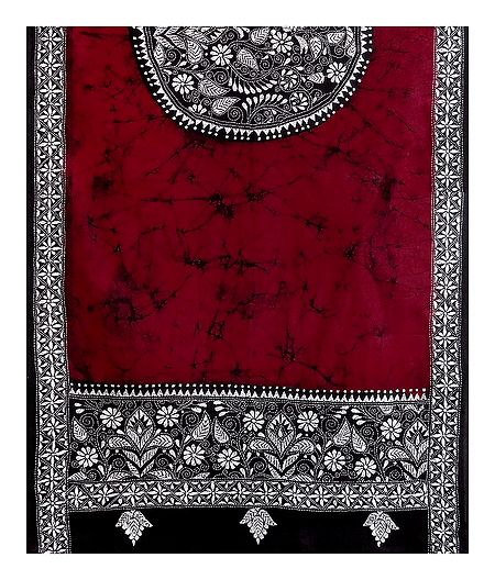 Kantha Embroidery on  red Batik Cotton Stole