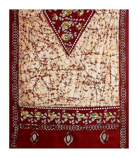 Kantha Embroidery on Batik Cotton Stole