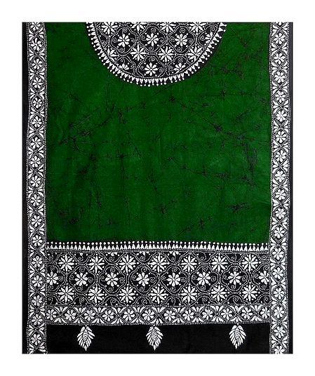 Kantha Embroidery on  Green Batik Cotton Stole