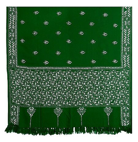 Kantha Stitch Green Woolen Shawl for Ladies