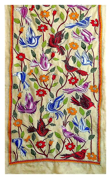 Multicolor Kantha Embroidery on Beige Tussar Stole
