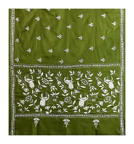 Kantha Stitch Olive Green Woolen Shawl for Ladies