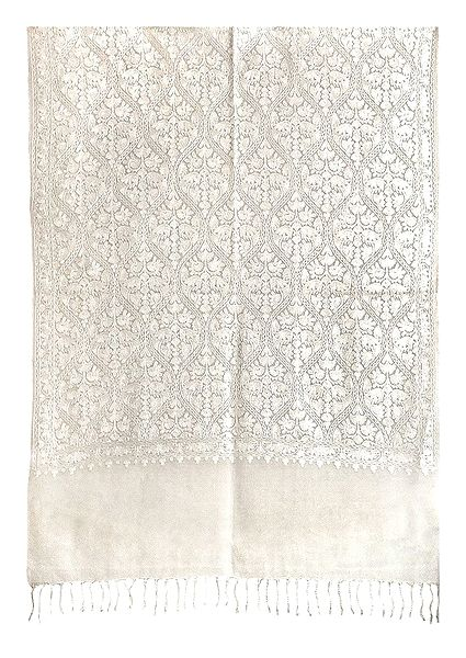Embroidered Kashmiri Ivory Color Pashmina Stole