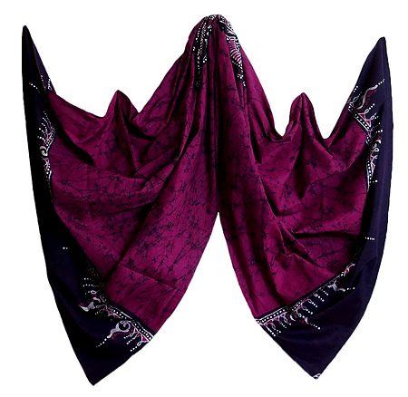 Dark Magenta Cotton Batik Stole