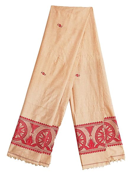 Beige Orissa Cotton Stole with Baluchari Wheel Design Pallu