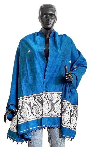 Cyan Blue Orissa Cotton Stole with Weaved White Baluchari Peacock Design