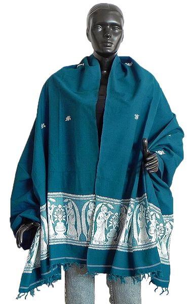 Cyan Blue Orissa Cotton Stole with Baluchari Design Pallu