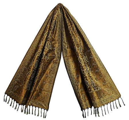 Copper Brown Banarasi Tanchoi Stole with Leaf Design