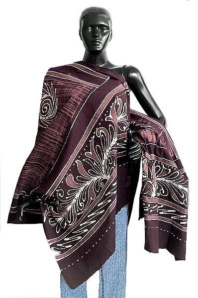 Dark Brown and Light Brown Batik Print Cotton Stole