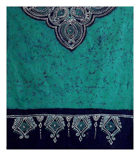Cyan Blue with Black Batik Cotton Stole