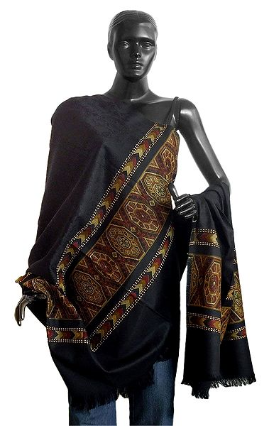Black Woolen Shawl