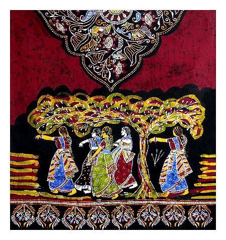 Red with Black Batik Cotton Stole