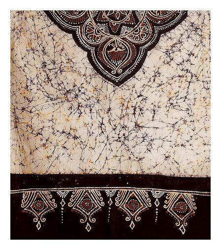 Off-White with Dark Maroon Batik Cotton Stole