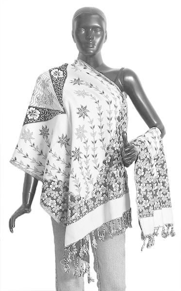 Black and White Cotton Stole with Floral Design