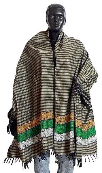 Striped Cotton Stole with Weaved Bomkai Design