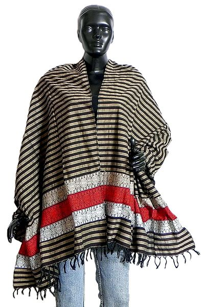 Striped Cotton Stole with Weaved Bomkai Design