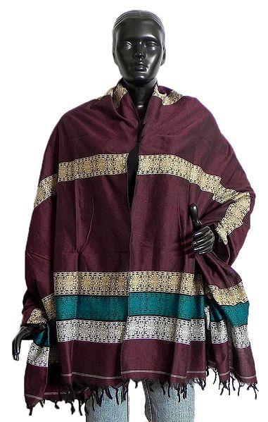 Maroon Cotton Stole with Weaved Bomkai Design