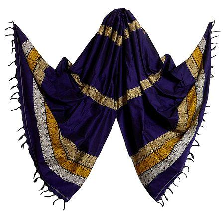 Purple Orissa Bomkai Cotton Stole with Weaved Design Pallu