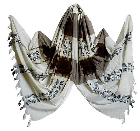 White with Brown Orissa Bomkai Cotton Stole with All-Over Black Weaved Design