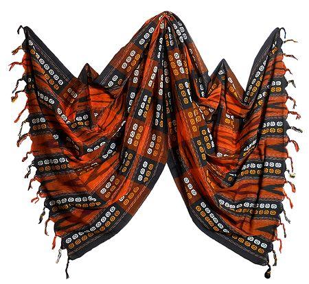 Saffron with Black Orissa Bomkai Cotton Stole with All-Over Weaved Design
