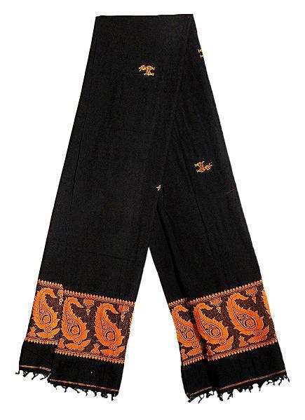 Black Orissa Cotton Stole with Baluchari Paisley Design Pallu
