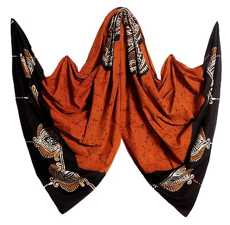 Saffron with Black Batik Cotton Stole