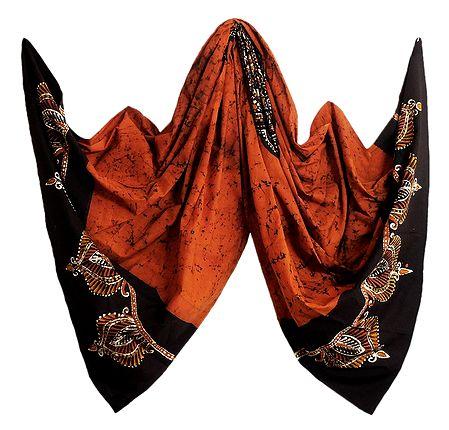 Saffron with Black Batik Cotton Stole