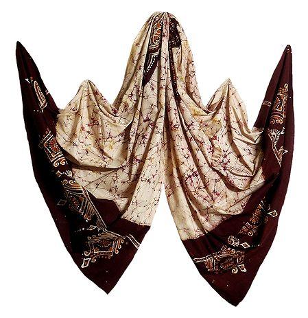 Ivory Color with Dark Maroon Batik Cotton Stole