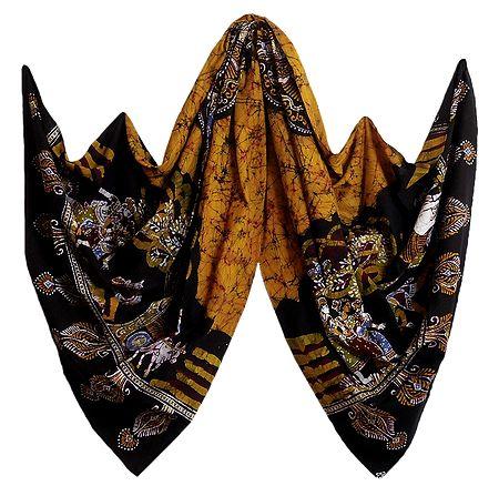Yellow with Black Batik Cotton Stole