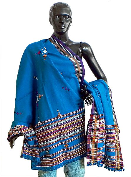 Cyan Blue Ladies Kutchi Shawl with Mirrorwork