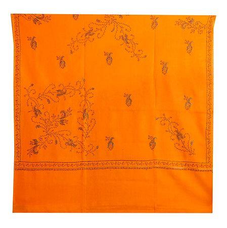 Embroidered Yellow Kashmiri Woolen Shawl